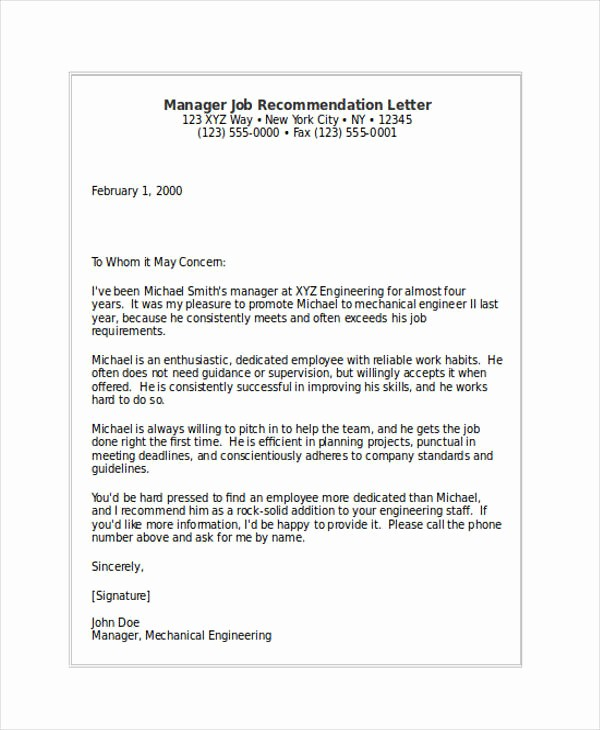 Recommendation Letter for Job Reference Fresh 82 Re Mendation Letter Examples & Samples Doc Pdf