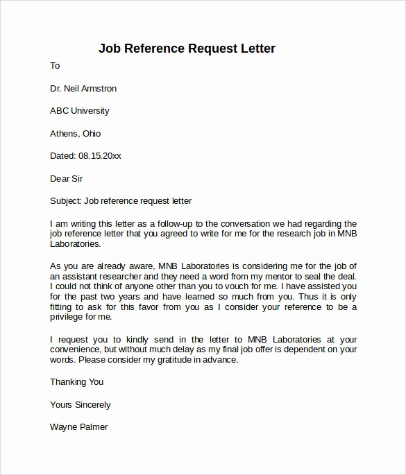 Recommendation Letter for Job Reference Inspirational 8 Job Reference Letters – Samples Examples & formats