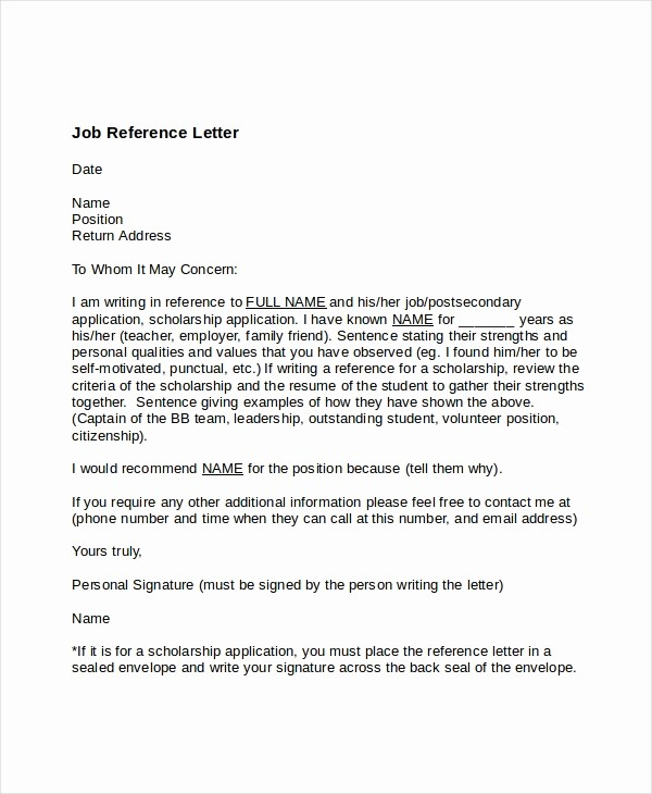 Recommendation Letter for Job Reference Lovely 7 Job Reference Letter Templates Free Sample Example