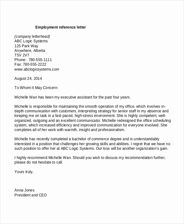 Recommendation Letter for Job Reference Unique 13 Employment Reference Letter Templates Free Sample