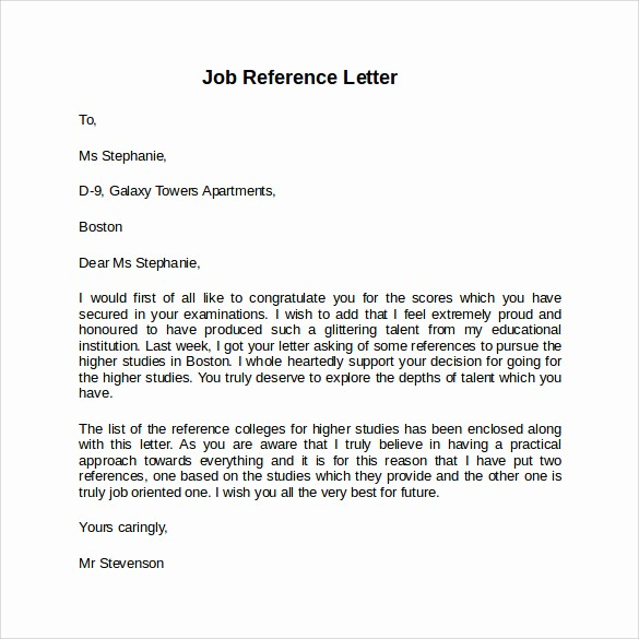Recommendation Letter for Job Sample Fresh 8 Job Reference Letters – Samples Examples & formats