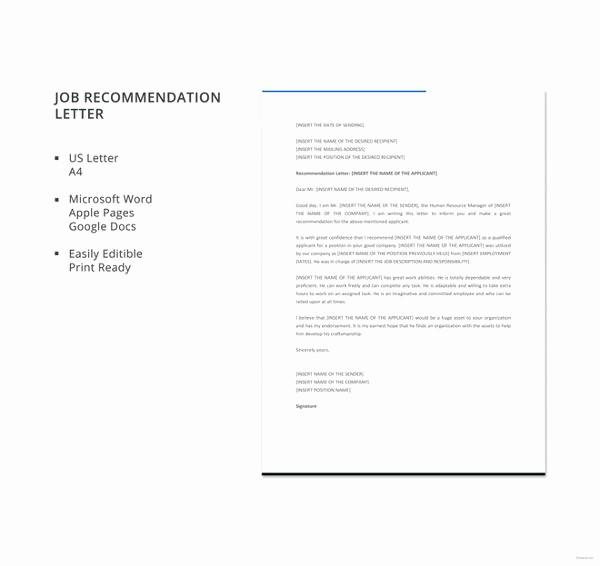 Recommendation Letter for Job Sample Luxury 6 Job Re Mendation Letters Free Sample Example
