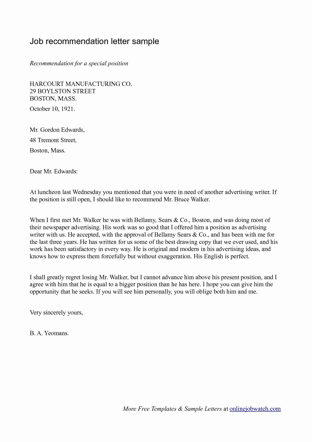 Recommendation Letter for Job Template Best Of Job Re Mendation Letter