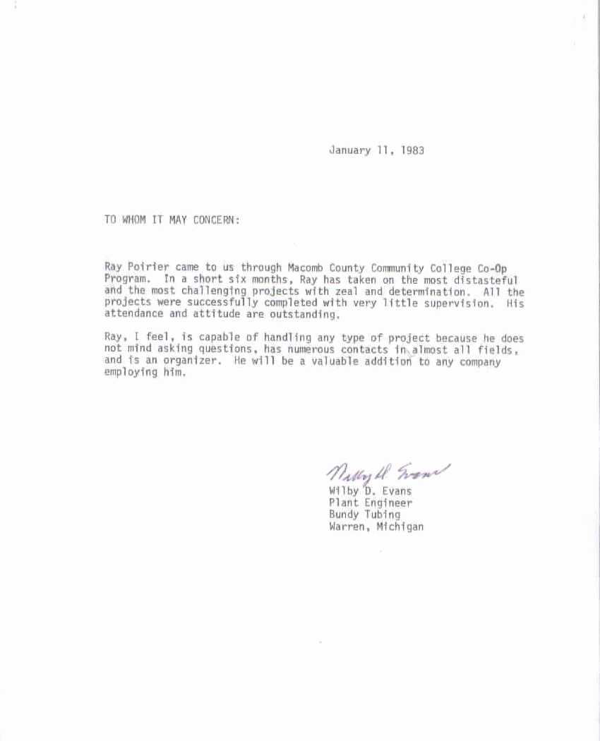 re mendation letter for a job