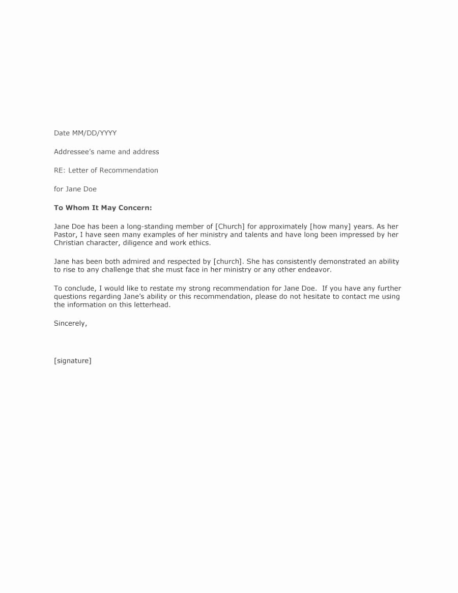 Recommendation Letter Sample From Employer Fresh 43 Free Letter Of Re Mendation Templates & Samples