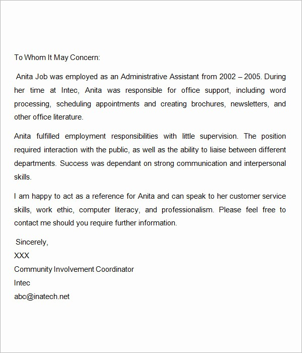 Recommendation Letter Sample From Employer Inspirational Sample Re Mendation Letters for Employment 12