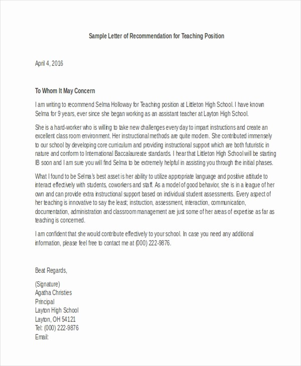Recommendation Letter Template for Teacher Awesome Letter Of Re Mendation Sample 10 Free Documents In
