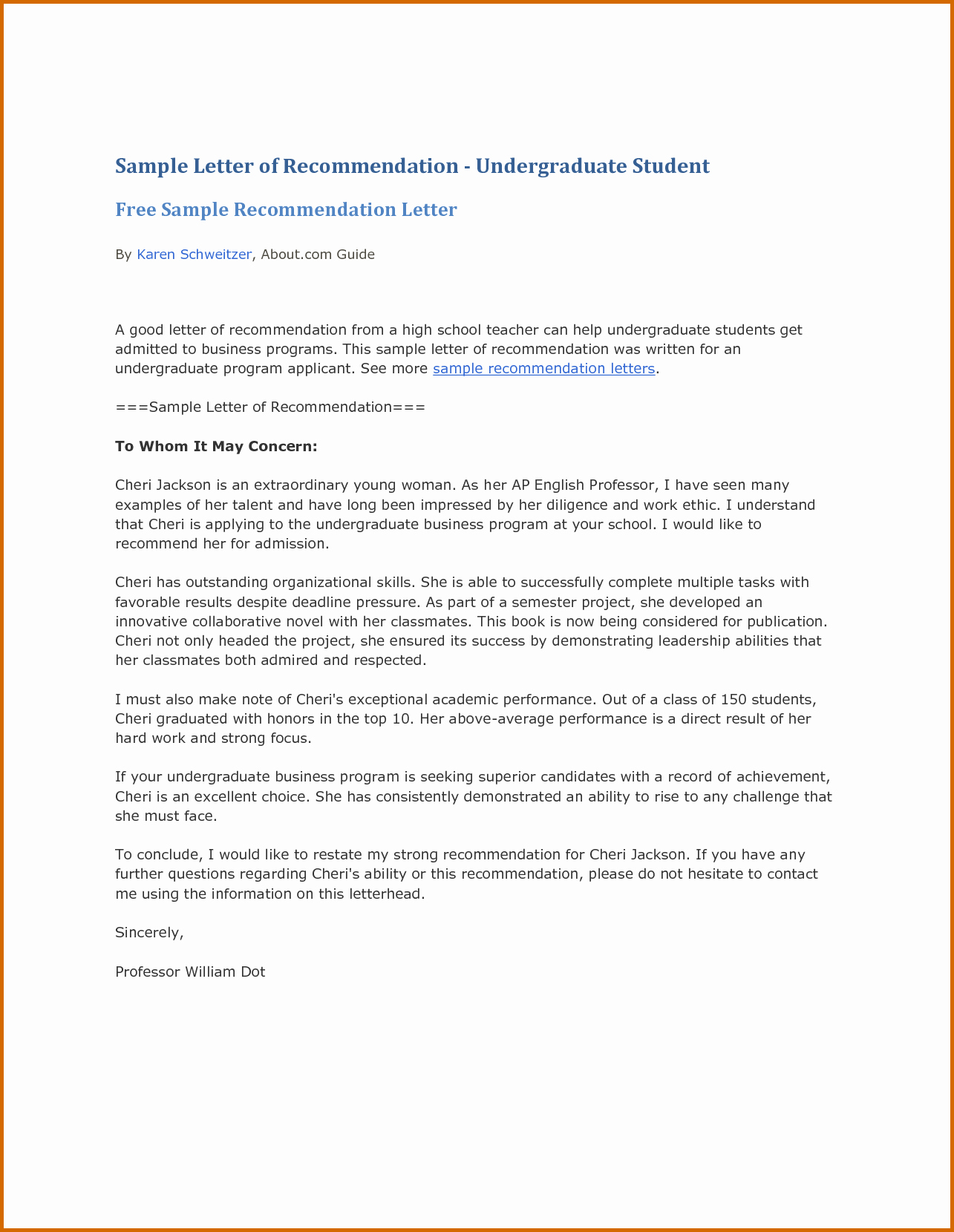 Recommendation Letter Template for Teacher Beautiful 13 Re Mendation Letter for Student Sample