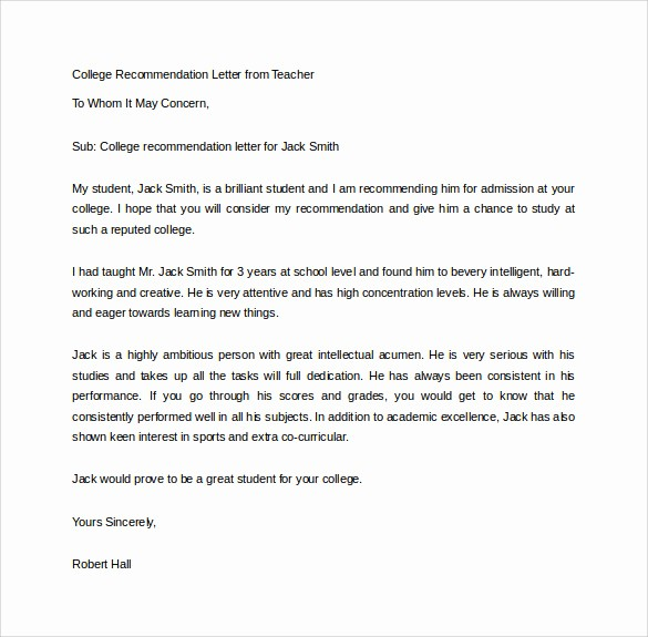 Recommendation Letter Template for Teacher Beautiful 15 College Re Mendation Letters – Pdf Word