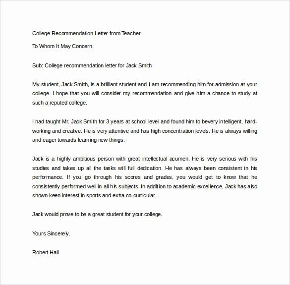 college re mendation letter