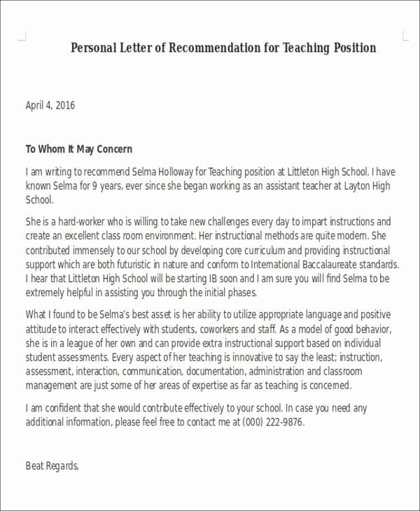Recommendation Letter Template for Teacher Elegant 6 Sample Letter Of Re Mendation for Teaching Position