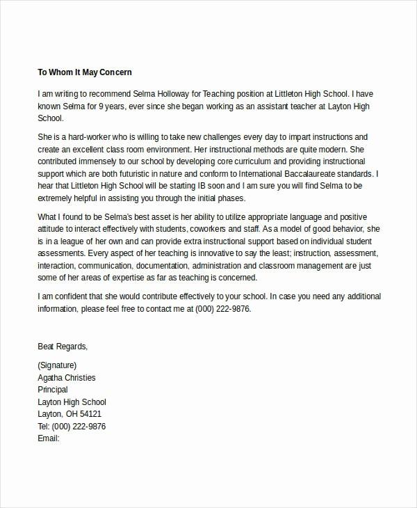 Recommendation Letter Template for Teacher Elegant 7 Teacher Reference Letters Free Samples Examples