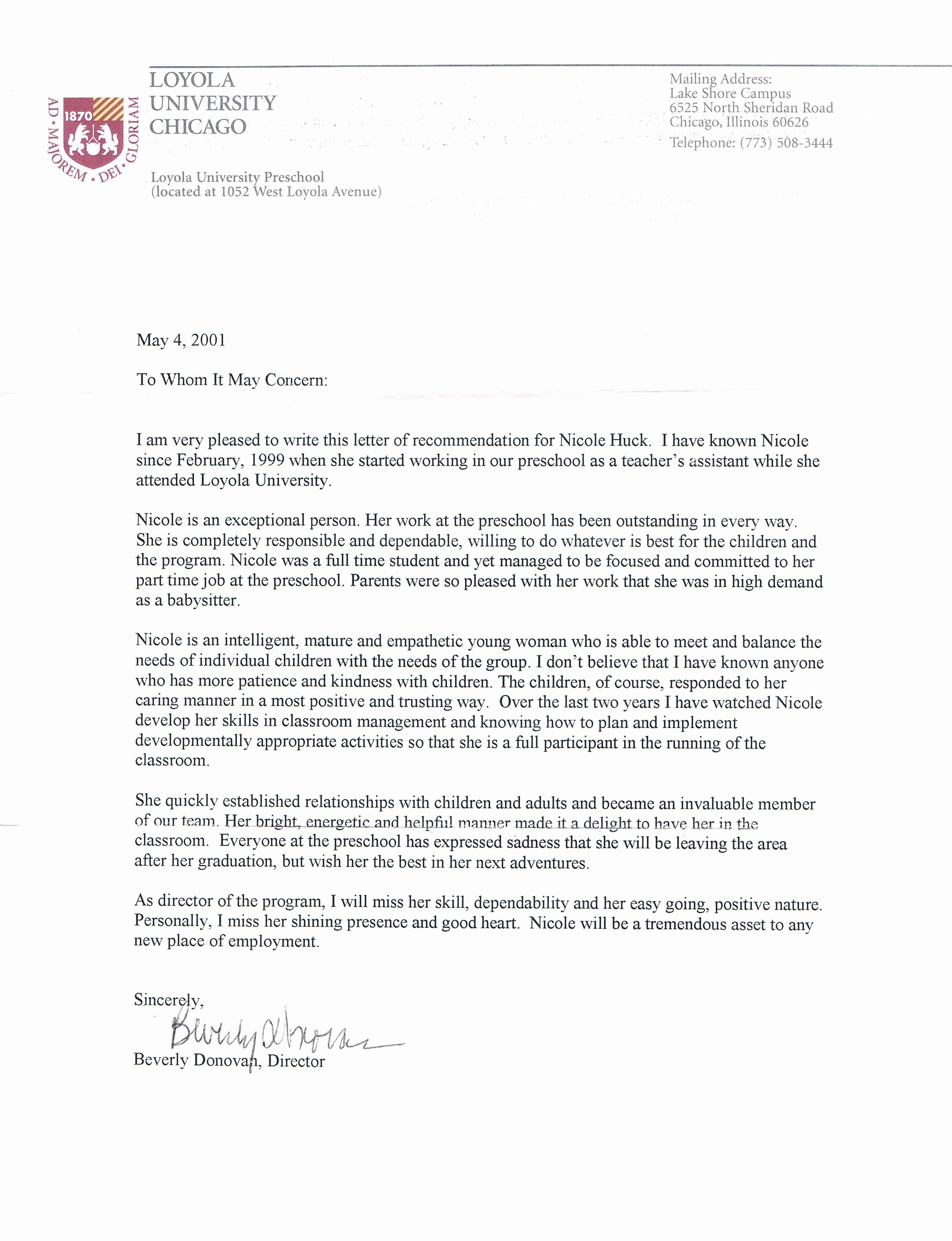 Recommendation Letter Template for Teacher Elegant Re Mendation Letter for A Nursery Teacher