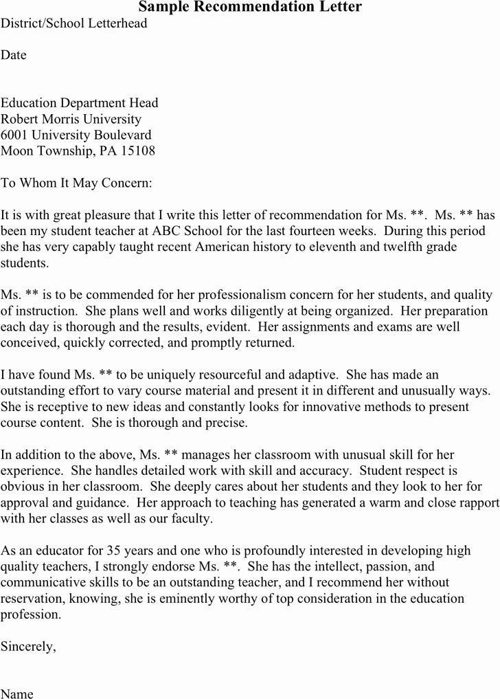 Recommendation Letter Template for Teacher Inspirational Re Mendation Letter for College Template
