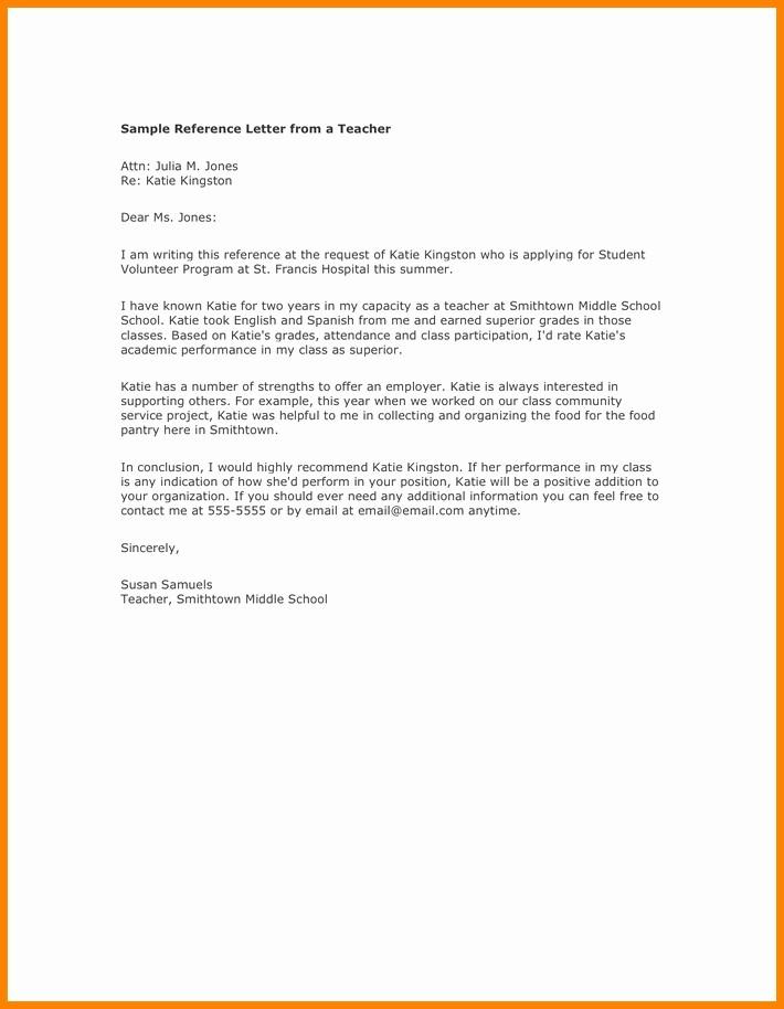 Recommendation Letter Template for Teacher Inspirational Sample Reference Letters for Teachers Letter Of