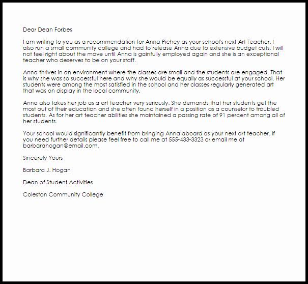 Recommendation Letter Template for Teacher Lovely Art Teacher Re Mendation Letter Example