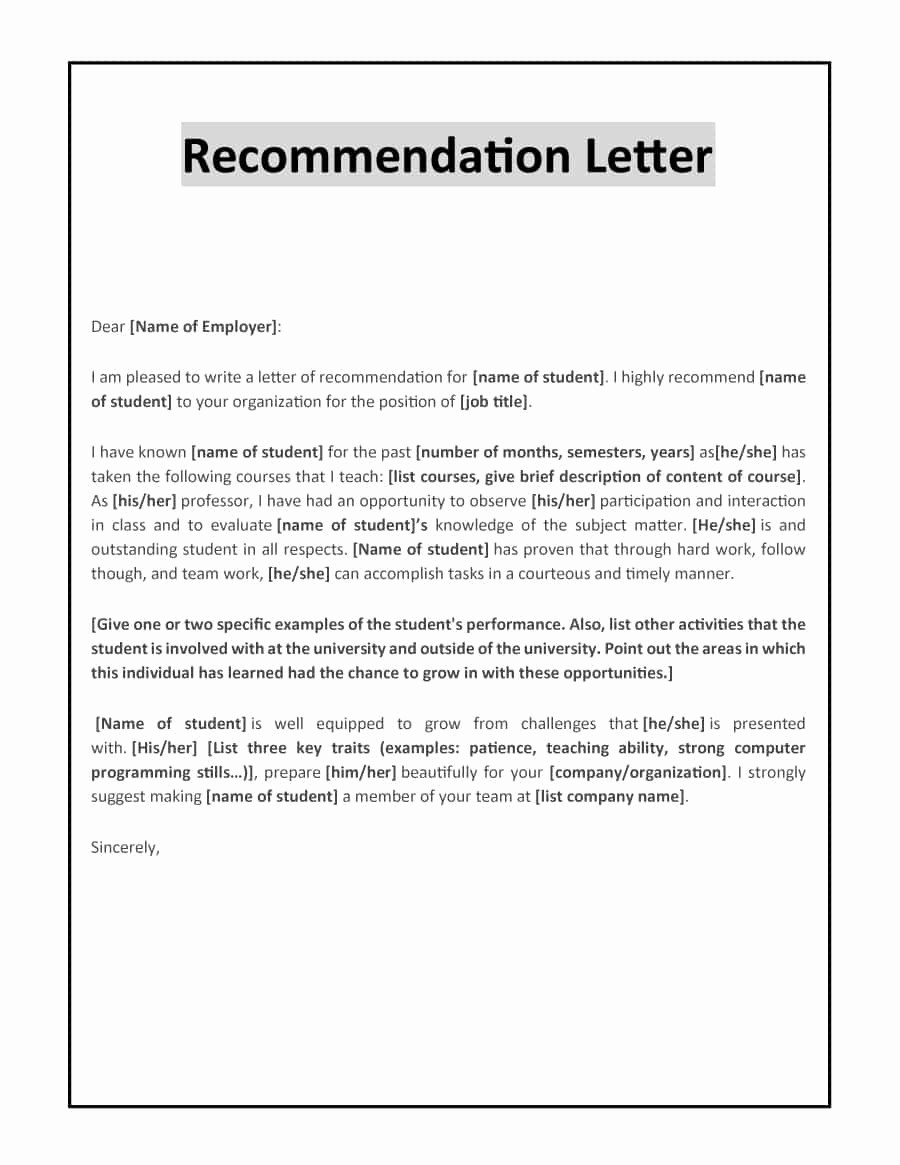 Recommendation Letter Template for Teacher Luxury 43 Free Letter Of Re Mendation Templates & Samples