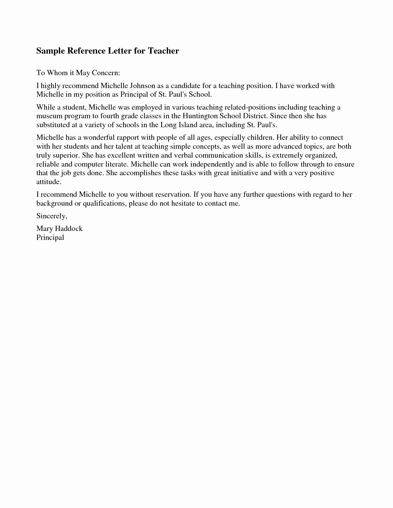 Recommendation Letter Template for Teacher Luxury Best S Of Re Mendation Letter for Teaching Position