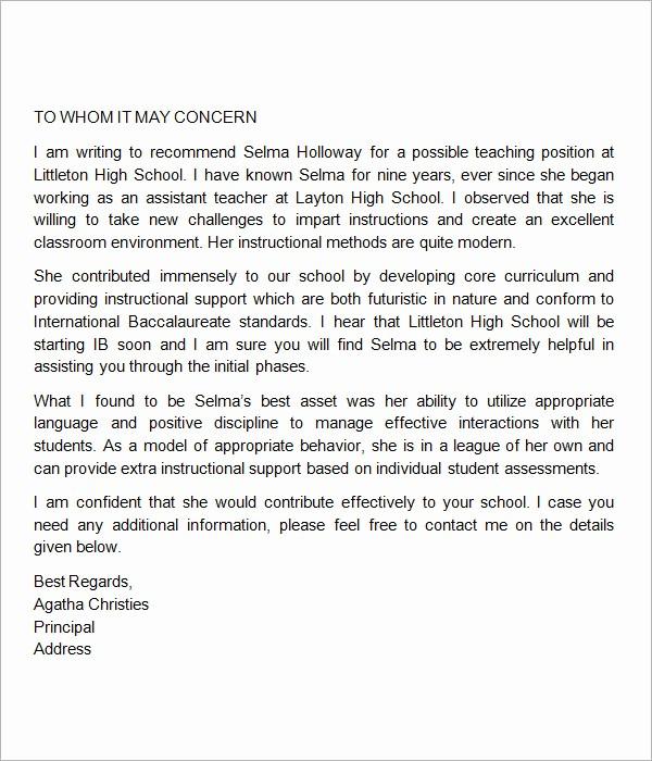 Recommendation Letter Template for Teacher New 18 Letter Of Re Mendation for Teacher Samples – Pdf