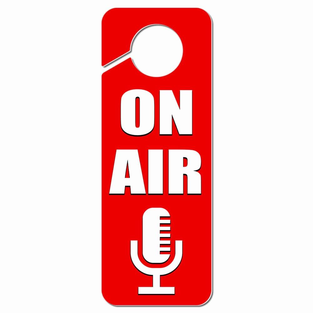 Recording In Progress Door Sign Elegant Air Microphone Recording Radio Podcast Plastic Door