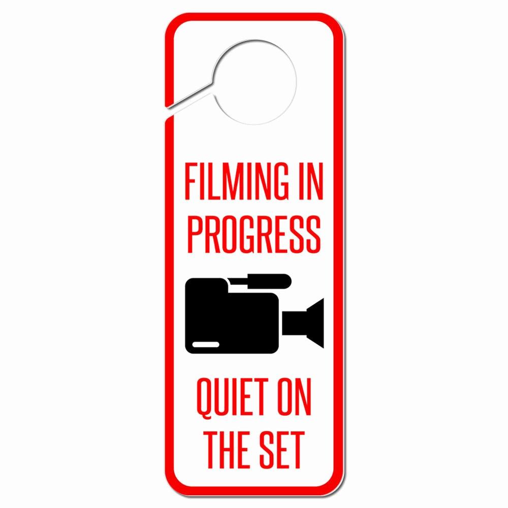 Recording In Progress Door Sign New Ing In Progress Quiet On the Set Plastic Door Knob