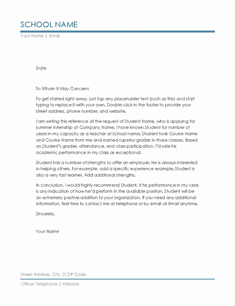 Reference Letter Examples for Teachers Beautiful Reference Letter From Teacher
