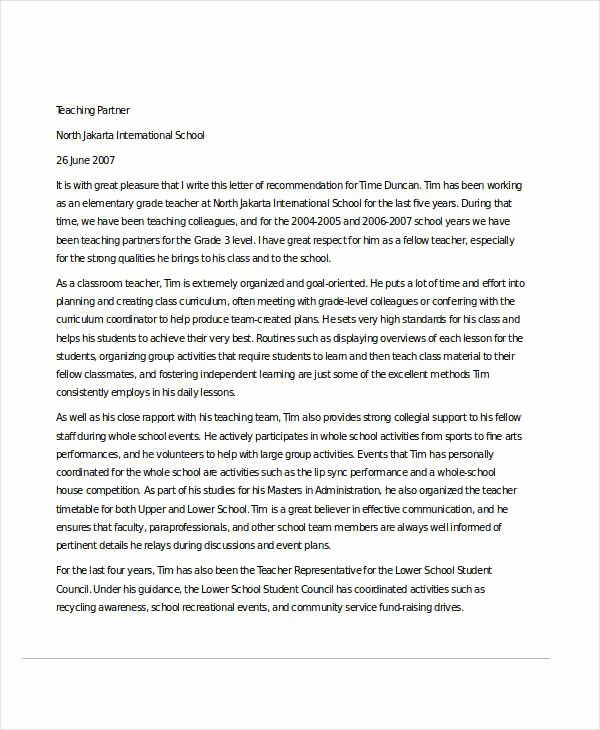 Reference Letter Examples for Teachers Best Of 32 Sample Re Mendation Letter Templates