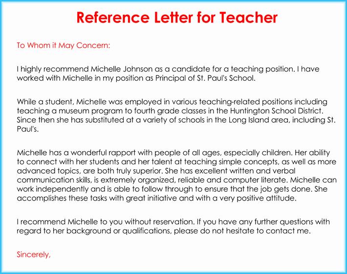 Reference Letter Examples for Teachers Best Of Teacher Re Mendation Letter 20 Samples Fromats