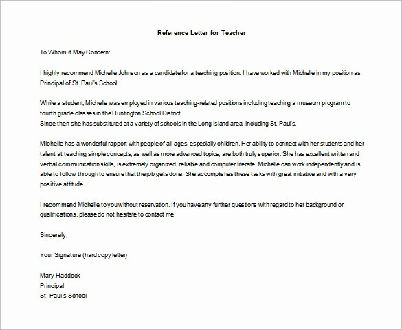 Reference Letter Examples for Teachers Elegant 28 Letters Of Re Mendation for Teacher Pdf Doc
