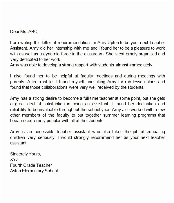 Reference Letter Examples for Teachers Lovely Re Mendation Letter for Teacher assistant