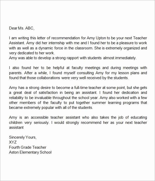Reference Letter Examples for Teachers Lovely Re Mendation Letter for Teacher assistant