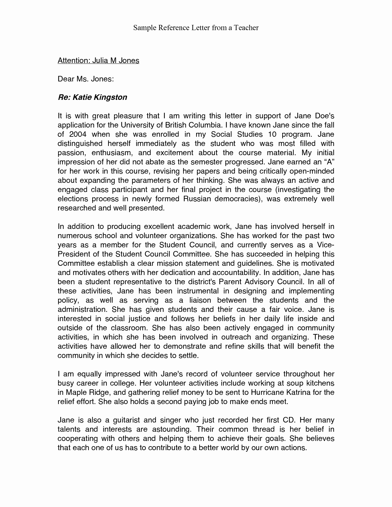 Reference Letter Examples for Teachers New Re Mendation Letter Sample for Teacher From Parent