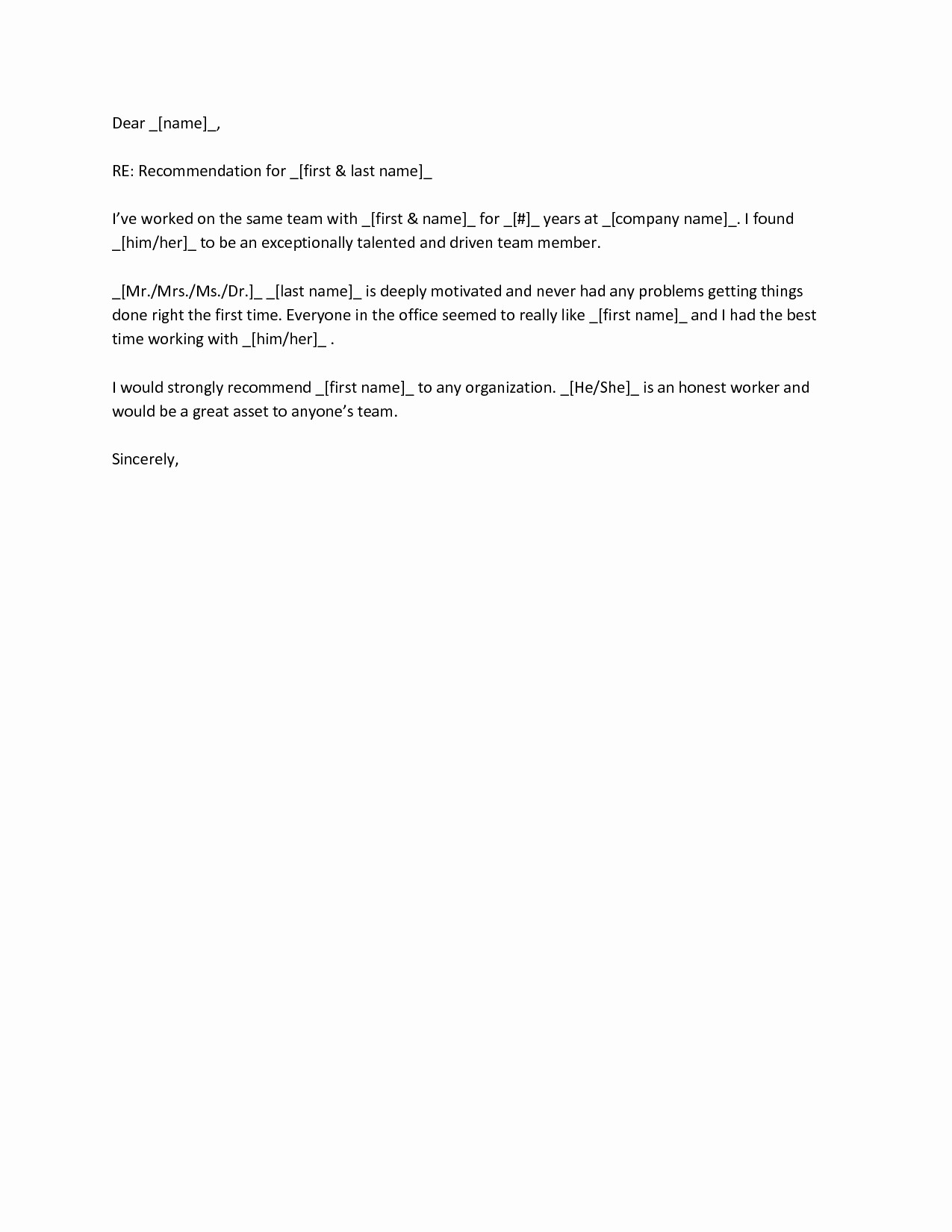 Reference Letter for A Coworker Best Of Letter Re Mendation Sample for Co Worker