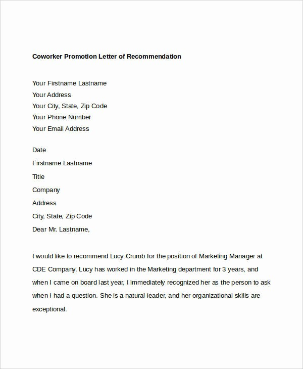 Reference Letter for A Coworker Inspirational 13 Coworker Re Mendation Letter Templates Pdf Doc