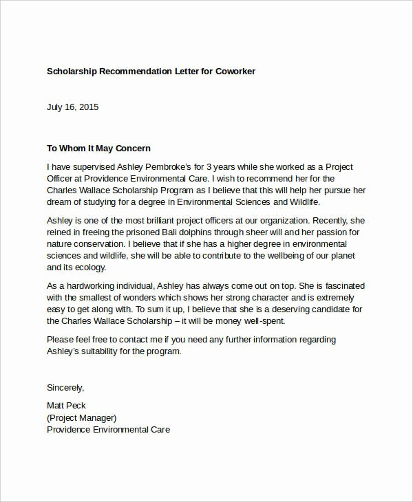 Reference Letter for A Coworker New 13 Coworker Re Mendation Letter Templates Pdf Doc