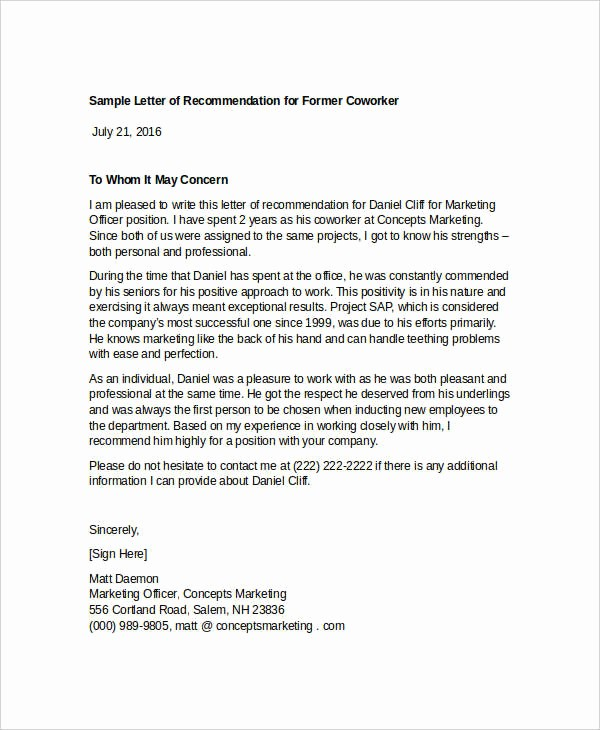 Reference Letter for A Coworker Unique 13 Coworker Re Mendation Letter Templates Pdf Doc
