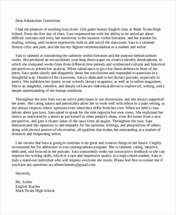 Reference Letter for College Admission Best Of 8 College Re Mendation Letter Samples