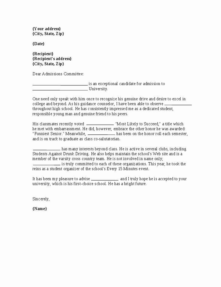Reference Letter for College Admission Best Of Re Mendation Letter for College Admission Letter Of