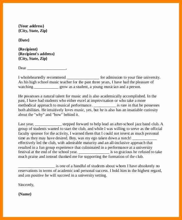 Reference Letter for College Admission Elegant 5 Re Mendation Letter format for College Admission