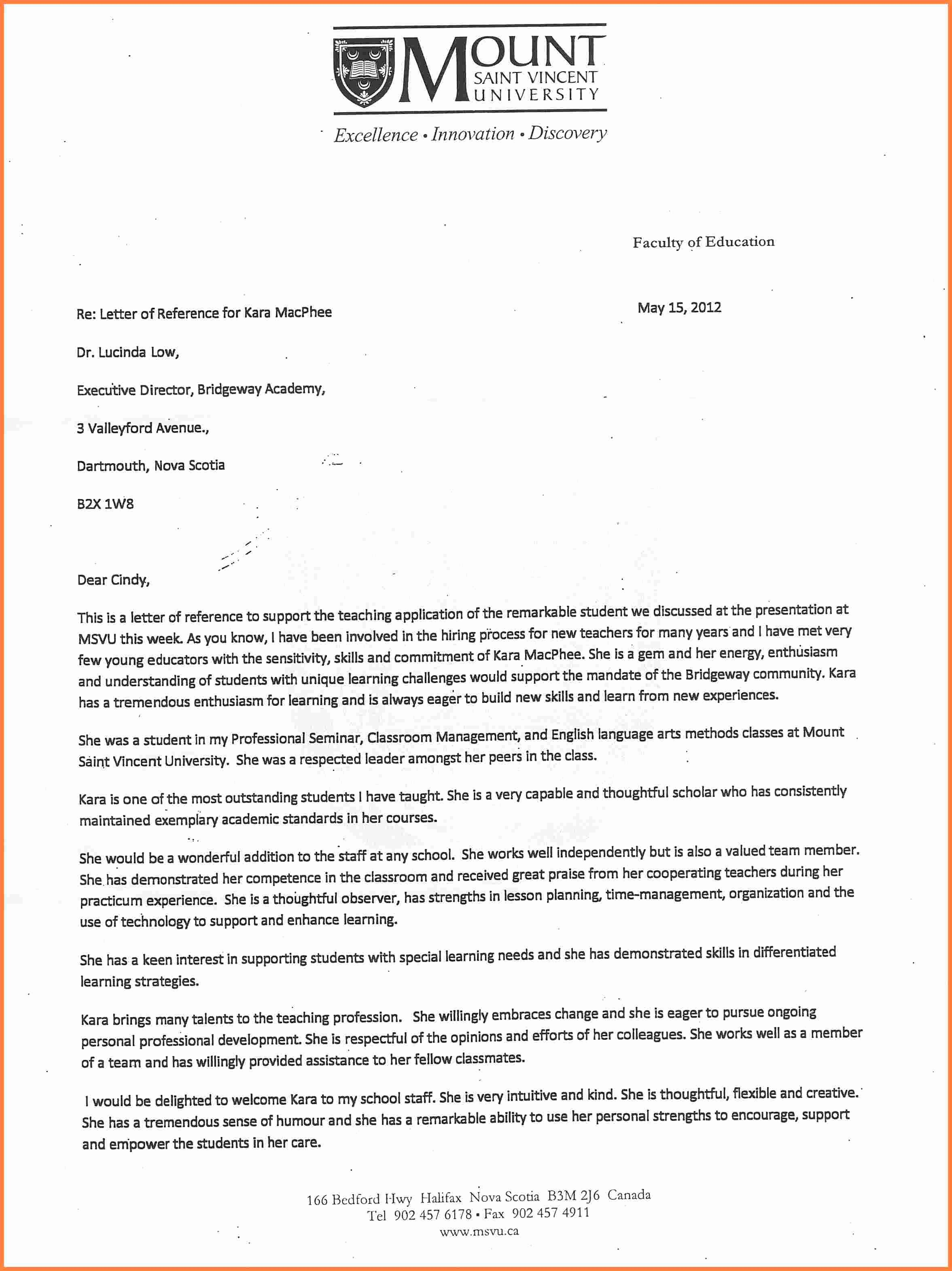 Reference Letter for College Admission Elegant Re Mendation Letter Sample for University Admission