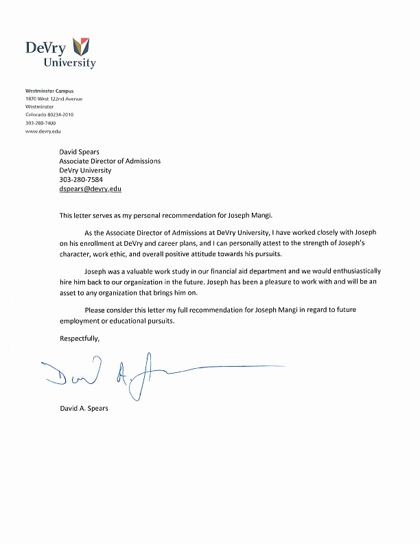 Reference Letter for College Admission Fresh College Admission Letter
