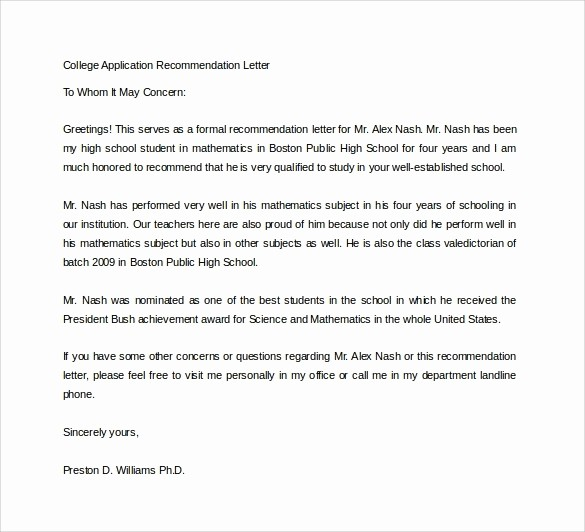 Reference Letter for College Admission Fresh College Application Re Mendation Letter