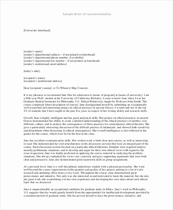 Reference Letter for College Admission Luxury 7 College Re Mendation Letter Samples
