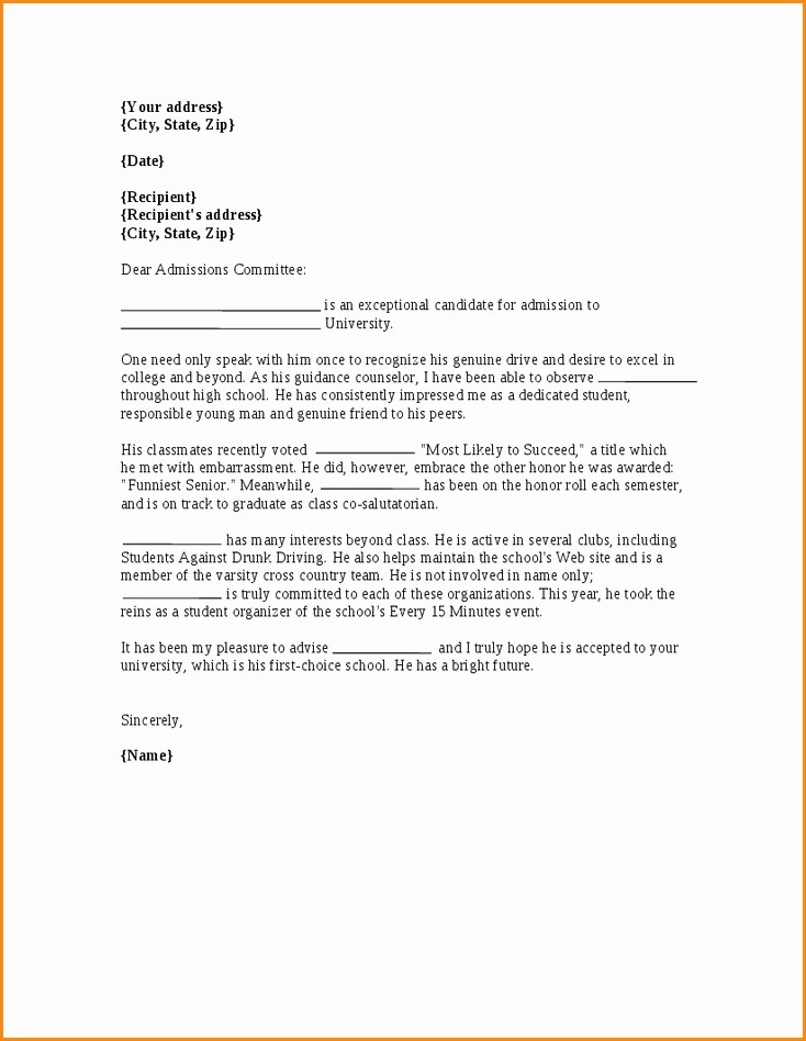 Reference Letter for College Admission Luxury Reference Letter for University Admission Letter Of
