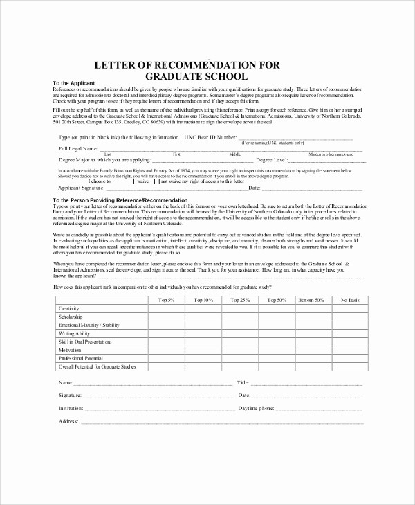 Reference Letter for College Admission New 38 Sample Letters Of Re Mendation for Graduate School