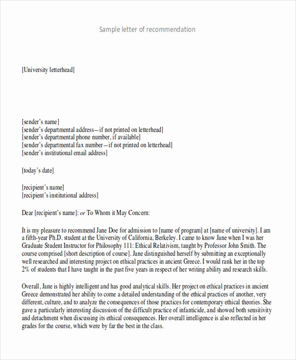 Reference Letter for College Admission Unique 9 Sample High School Re Mendation Letters