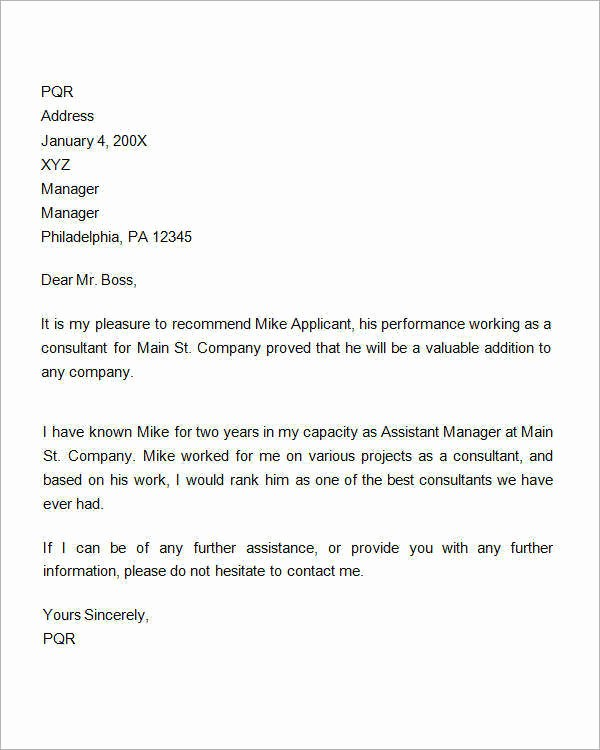 Reference Letter for Employee Template Best Of 15 Sample Re Mendation Letters for Employment In Word
