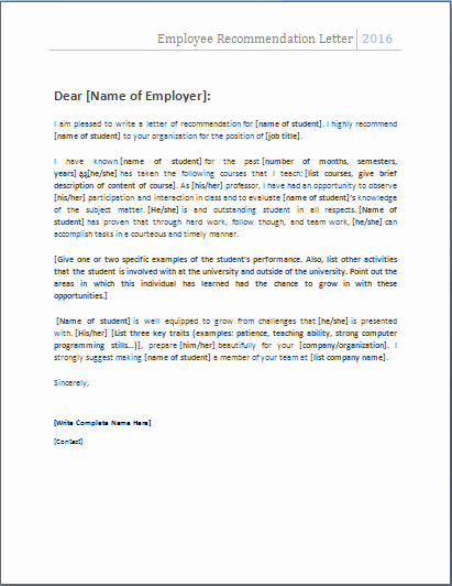 Reference Letter for Employee Template Best Of 4 Academic and Employee Re Mendation Letters
