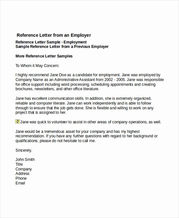 Reference Letter for Employee Template Best Of 7 Job Reference Letter Templates Free Sample Example