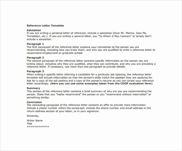 Reference Letter for Employee Template Fresh 15 Free Reference Letters